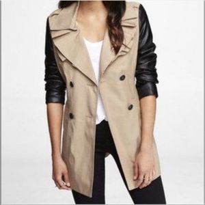 Express Tan Trench Coat Black Faux Leather Sleeve
